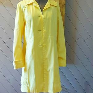 Nine West Yellow Trench Coat Size L